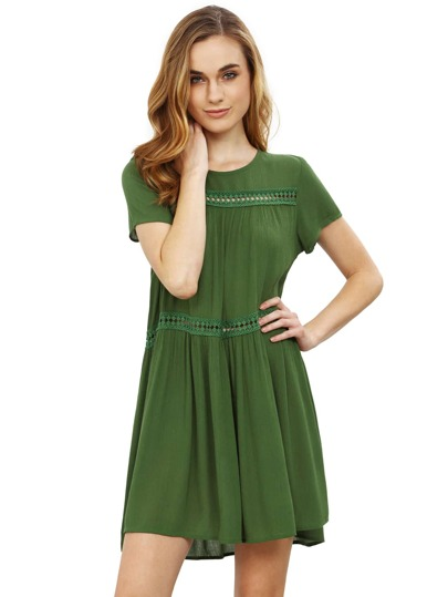 Army Green Short Sleeve Shift Dress