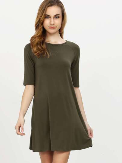 Army Green Half Sleeve Casual Dress