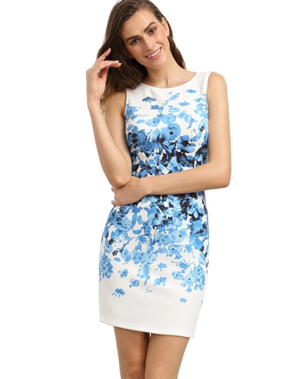 Blue Sleeveless Vintage Print Dress