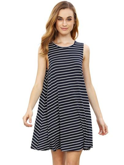 robe sans manche à rayure -noir blanc