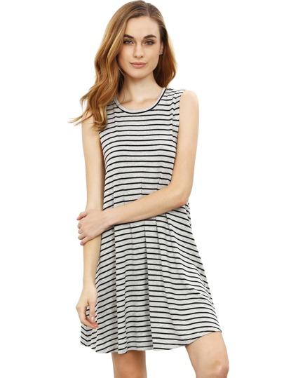 Grey Striped Sleeveless Dress