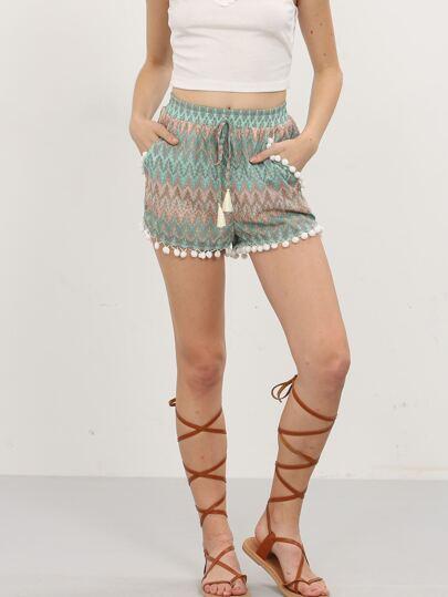 Multicolor Print Pom-pom Tie Waist Shorts