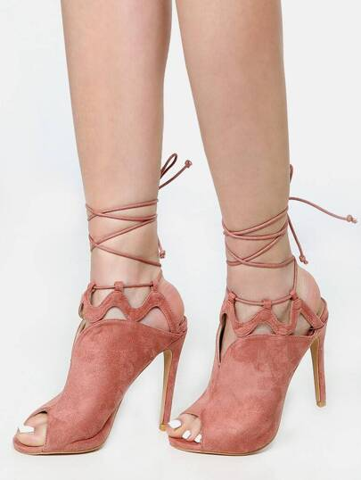 Cut Out Lace Up Mules BLUSH