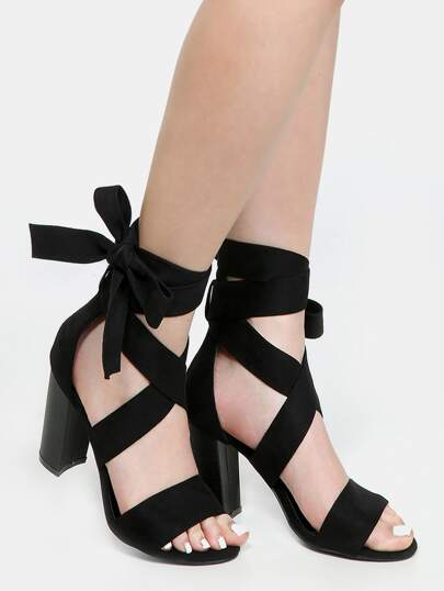 Lace Up Block Heels BLACK