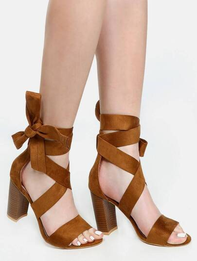 Thick Strap Lace Up Heels CAMEL