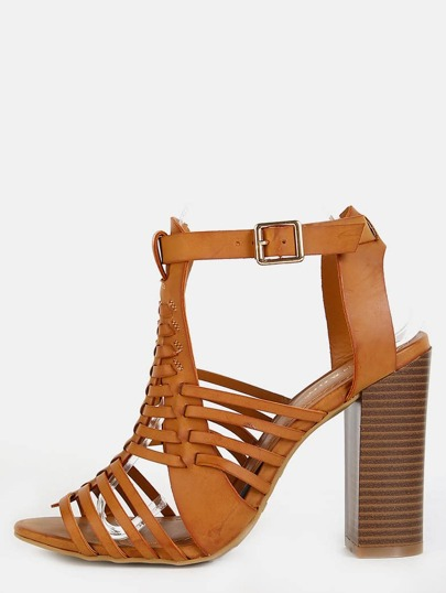 Woven Open Toe Chunky Heels NATURAL