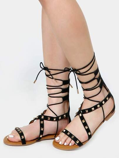 Open Toe Studded Lace Up Sandals BLACK
