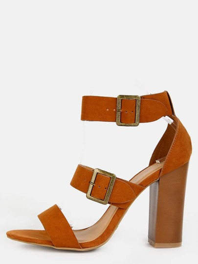 Open Toe Triple Strap Heels CHESTNUT