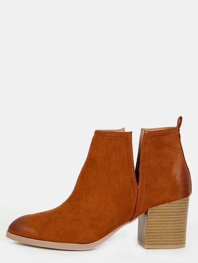 Pointy Toe Stacked Heel Ankle Booties CHESTNUT