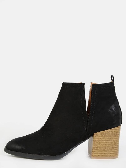 Pointy Toe Block Heel Ankle Boots BLACK
