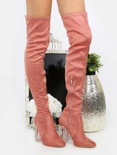 Clear Heel Thigh High Boots PINK