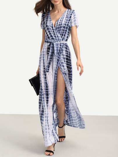 Multicolor Print Short Sleeve Tie Waist Split Dress