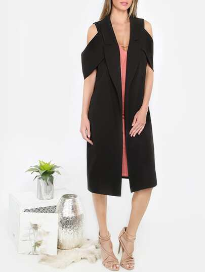 Black Lapel Cold Shoulder Long Outerwear