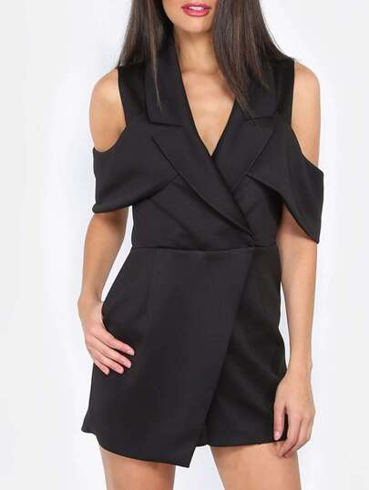 Black Sleeveless Roll-up Collar Jumpsuit