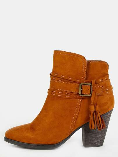 Faux Suede Stitched Tassel Booties CHESTNUT