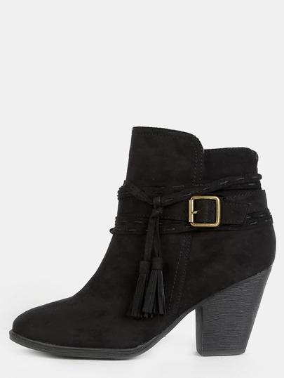 Western Inspired Tassel Ankle Boots BLACK