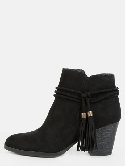 Low Cut Wrap Tassel Booties BLACK