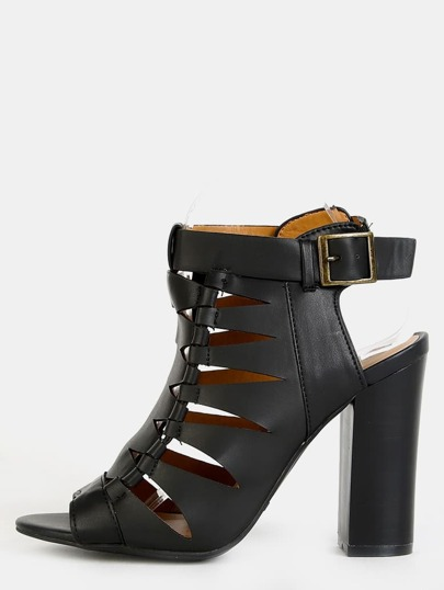Geometric Cut Out Ankle Boots BLACK
