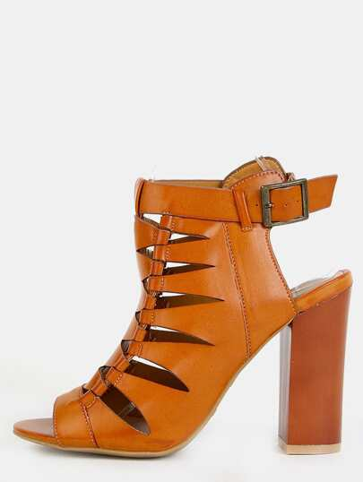Zig Zag Cut Out Chunky Heel Booties TAN