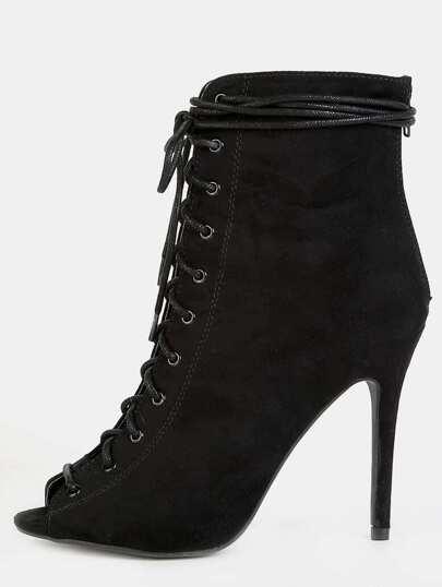 Peep Toe Lace Up Stiletto Booties BLACK