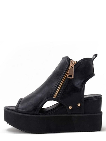 Black Peep Toe Zipper Cutout Thick-soled Wedges