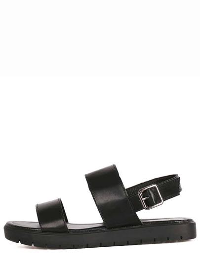 Black Strap Flatform Buckled Sandals