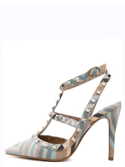 Green Pointy Striped Studded Stiletto Heels