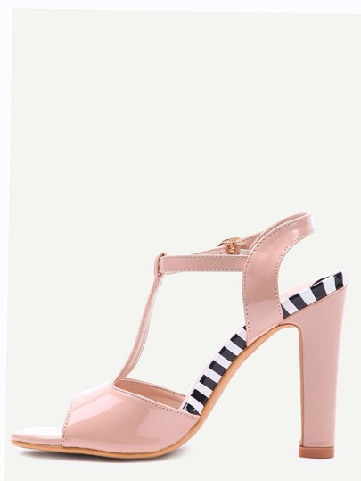 Apricot T-Strap Slingback High Heel Sandals