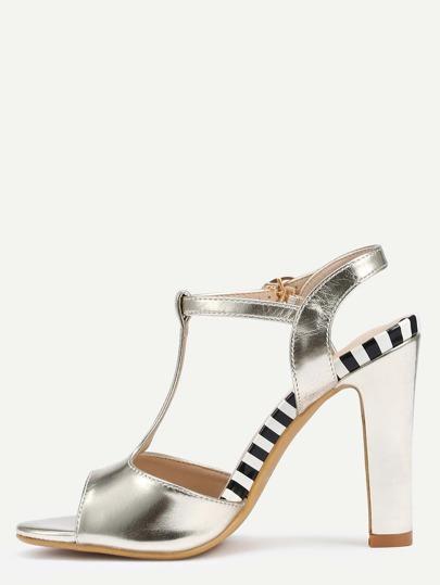 Sandales à talon design simple - doré