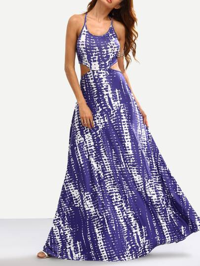 Blue Tie Dye Print Cutout Maxi Dress