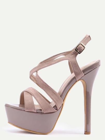 Brown Faux Suede Crisscross Platform High Heel Sandals