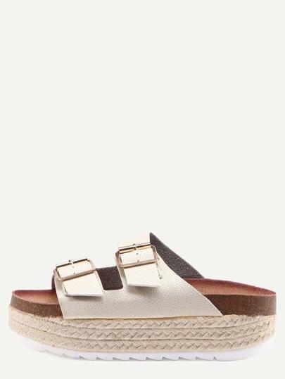 Sandales espadrilles avec double boucle - doré clair