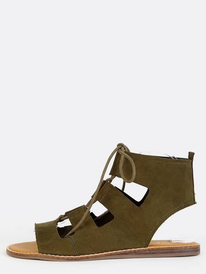 Faux Suede Open Toe Sandals OLIVE