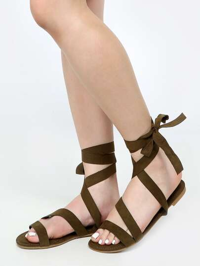 Vegan Suede Tie Up Sandals OLIVE