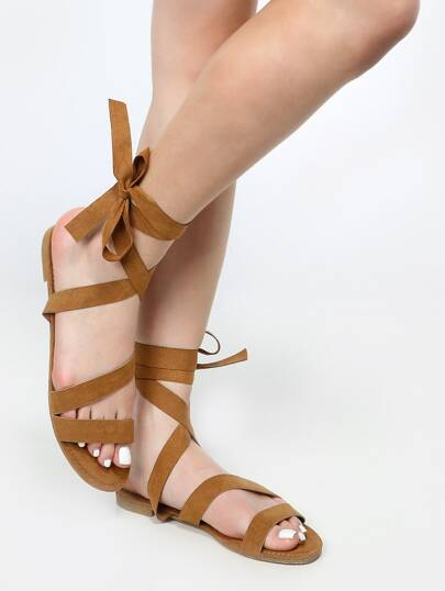 Open Toe Wrap Up Sandals NATURAL