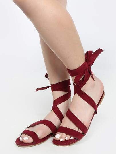 Lace Up Faux Suede Sandals BURGUNDY