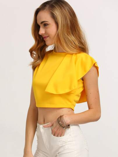 Yellow Ruffle Zip Back Crop Top