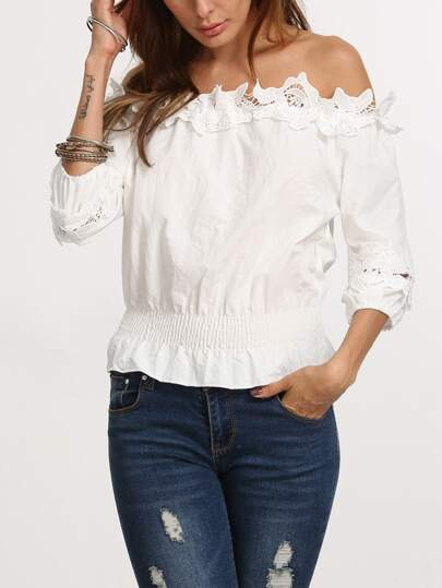 White Off The Shoulder Applique Crop Top