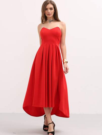 Red Pleated High Low Bandeau Dress