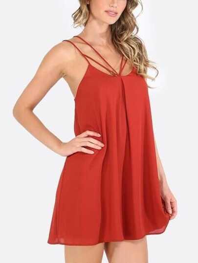 Red Cut Away Sleeveless Shift Dress