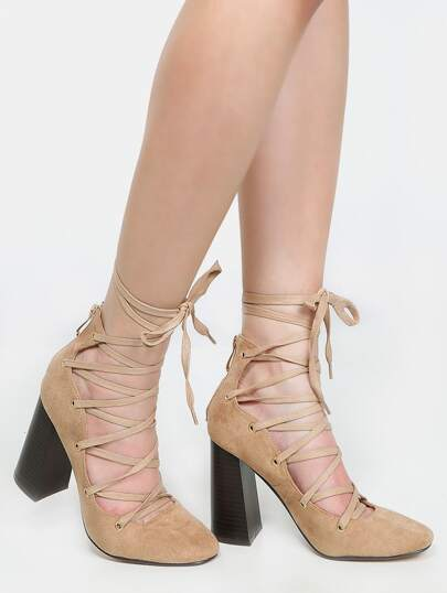 Round Toe Tie Up Pumps NUDE