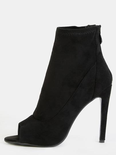 Faux Suede Skinny Heel Booties BLACK
