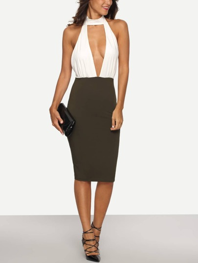 Multicolor Halter Backless Cutout Sheath Dress