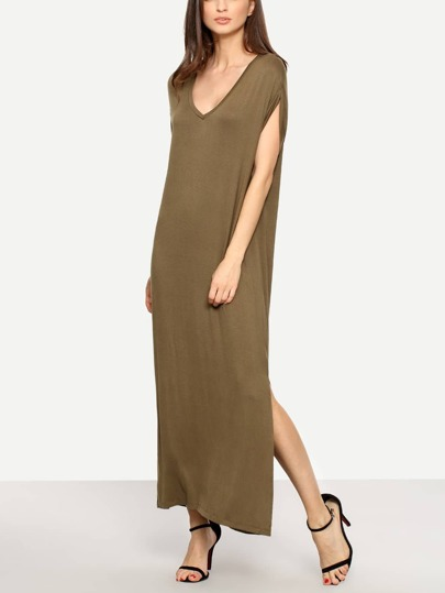 Khaki V Neck Short Sleeve Maxi Dress
