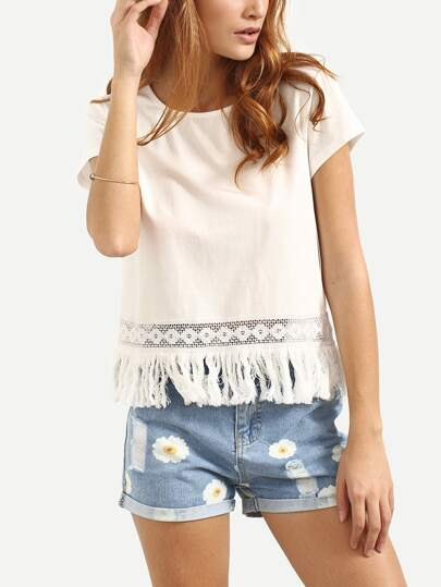 White Short Sleeve Hollow Fringe Blouse
