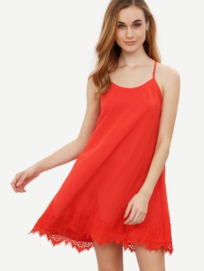 Red Spaghetti Strap Crochet Hem Shift Dress