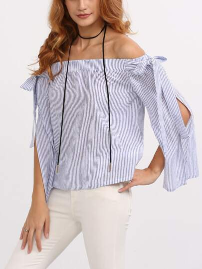 Blue Off The Shoulder Bow Split Sleeve Blouse