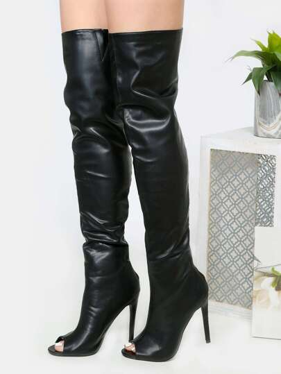 Exposed Zipper Thigh High Heels BLACK