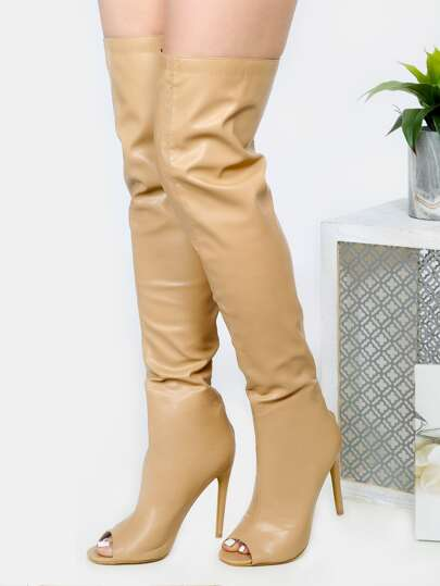 Peep Toe Stiletto Thigh High Heels NUDE