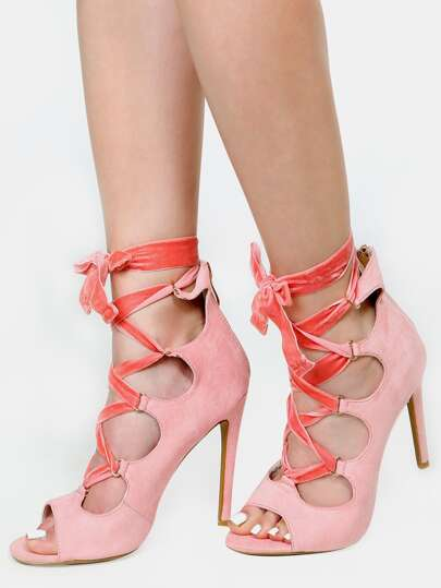 Peep Toe Lace Up Stiletto Heels PINK